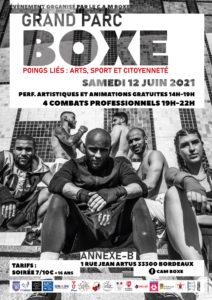 Affiche Poings liés 2021 : Art, Boxe et citoyenneté au Grand Parc à Bordeaux. Un événement de CAM Boxe, MC2a et leurs partenaires.